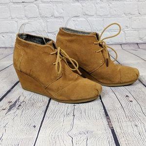 Toms Desert Chestnut Suede Wedge Boots Booties 8